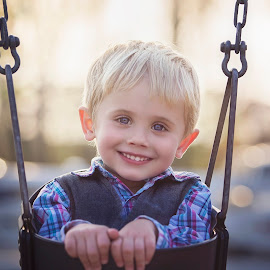Just a swingin' by Dawn Veen - Babies & Children Children Candids ( blonde, park, blue eyes, cute, boy )