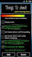 Screenshot of Lock Home Checklist