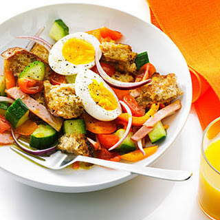 Bacon, Egg, and Toast Salad with OJ Dressing