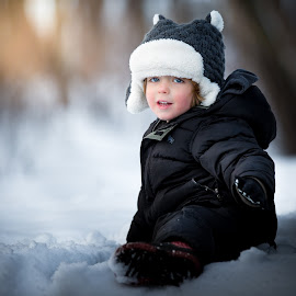 Cute Cub by Mike DeMicco - Babies & Children Child Portraits ( purple, little, cute, portrait, kid, hat, child, sweet, winter, happy, outdoor, snow, handsome, light, boy )