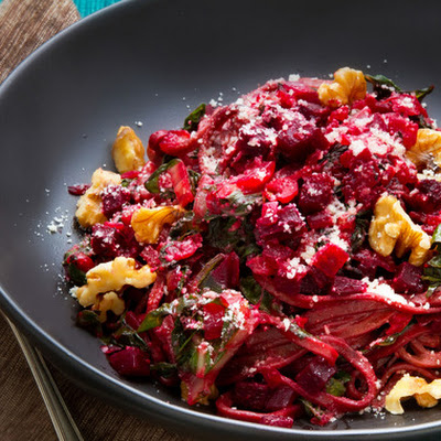 Fresh Beet Pasta with Swiss Chard & Walnuts