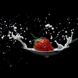 strawberry splash by Ge Yonk - Food & Drink Fruits & Vegetables ( strawberry splash, strobist, milk, splash photography, high speed, strawberry )