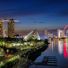 Blue Hour in the City by Kristianus Setyawan - City,  Street & Park  Skylines ( skyline, reflection, night scene, blue hour, marina bay sands, cityscape, singapore, marina bay, city, nightscape, city landscape, reservoir, sky, night photography, singapore flyer )