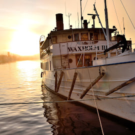 Old boat in the early morningsun by Dan Westtorp - Transportation Boats