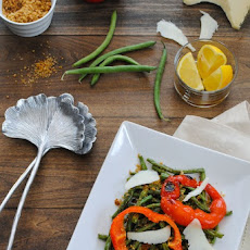 Roasted Green Beans & Peppers with Oregano Breadcrumbs