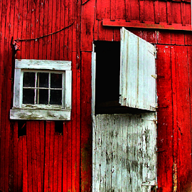 Old Wichman Barn by Julie Dant - Buildings & Architecture Architectural Detail ( barn doors, dutch doors, barn windows, historical barns, red barns, old barns )