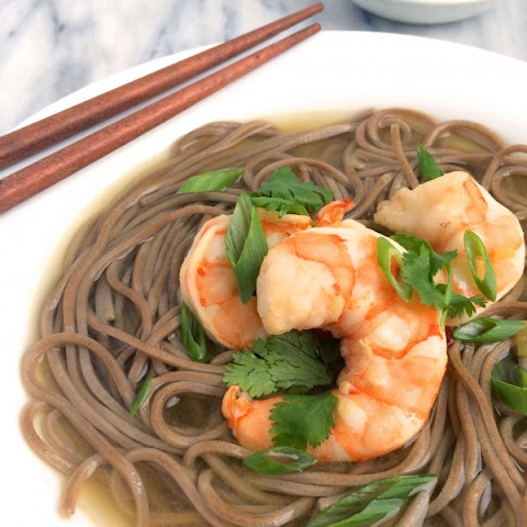 Shrimp and Soba Noodles in Gingered Broth