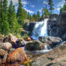 Alberta Falls by Levi Oelrich - Landscapes Waterscapes ( waterscape, cascade, rocky mountain, waterfall, rocky mountain national park )