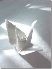 White Satin Peace Crane by localcolorist