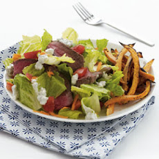 Sirloin Salad with Blue Cheese Dressing & Sweet Potato Fries