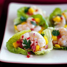 Little Gem cups with prawn & mango salsa