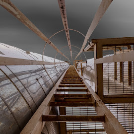 Ladder to Infinity by Bill Peppas - Digital Art Abstract ( ladder, ladders, lines, chimney, chimneys, infinity )