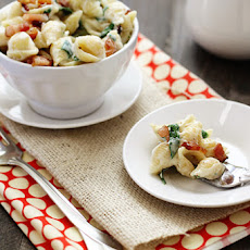 Fontina, Spinach, and Bacon Shells and Cheese
