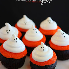 Dark Chocolate Cupcakes with Meringue Ghosts