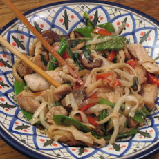 Pork, Choy Sum and Noodle Stir Fry
