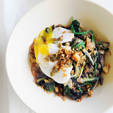 Braised Greens With Poached Egg