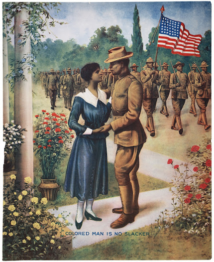 "Many black troops saw enlisting as a way to prove their patriotism and equality with white troops. More than one million African Americans responded to the draft and served in the armed forces.  Learn more about recruiting during World War I <a href=""http://www.gilderlehrman.org/history-by-era/world-war-i/resources/recruiting-posters-for-african-american-soldiers-1918"">here</a>."