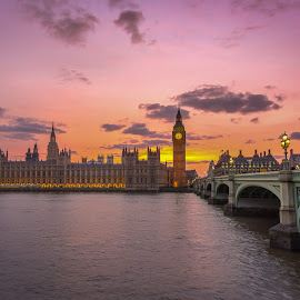 Westminster Bridge by Dimitar Hristov  - Buildings & Architecture Public & Historical ( thames, london, westminster, london sunset, hoses of parlament )