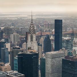 New York City by Christian Diboky - City,  Street & Park  Skylines ( cloudy day, chrysler, building, america, empire state building, view, nyc, new york, usa, chrysler building, united states,  )