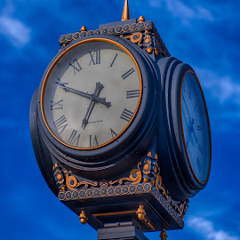 Fancy Clock by Lynn Wiezycki - Buildings & Architecture Other Exteriors ( time, sky, hdr, blue, clock )