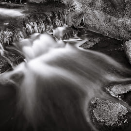 | Peaceful | by Photo Jovan - Nature Up Close Water ( peaceful, black and white, waterscape, waterfall, stones,  )