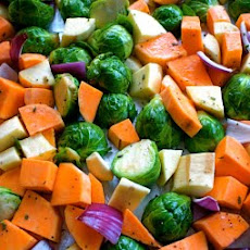 Roasted Sweet Potatoes, Yams, and Brussels Sprouts with Fresh Rosemary
