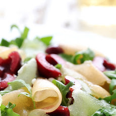 Shaved Melon Cherry Arugula Salad