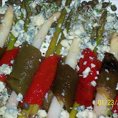 Roasted Pepper and Asparagus Marinated in Raspberry Vinaigrette
