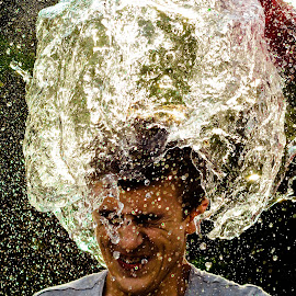 Water hat by Iacob Teodora - People Portraits of Men ( water, green, boy, hat,  )