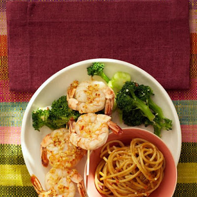 Garlic-Chile Shrimp Skewers with Peanut Noodles and Broccoli