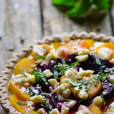 Golden Beet Galette with Honey, Cheese and Mint