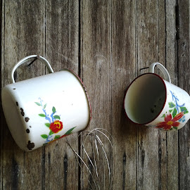 Identical twins at the wall by Cn Razlan - Artistic Objects Cups, Plates & Utensils