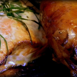 Cedar plank grilled salmon and smoked chicken thighs by Liz Hahn - Food & Drink Meats & Cheeses