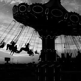 Gulf Glider by Jared Dunn - City,  Street & Park  Amusement Parks ( ride, black and white, gulf, texas, fun, glider, galveston )