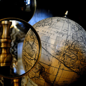 by Liz Rosas - Artistic Objects Other Objects ( man cave, study, den, antique, magnifying glass, globe )