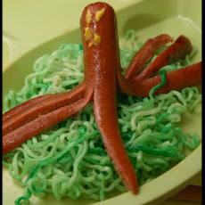 Octopus and Seaweed (Ramen Noodles and Hot Dogs)