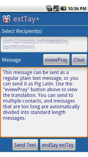 extTay+ Pig Latin for SMS