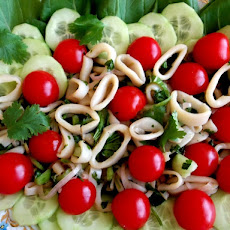 Braised Calamari, Stir-Fried Bok Choy Salad with Cucumber and Cherry Tomatoes