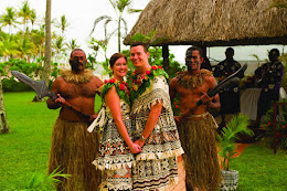 Couple in traditional Fijian wedding attire