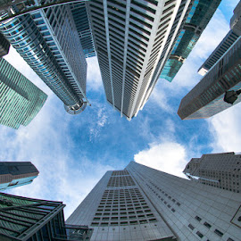 looking up by Nikon Guy - Buildings & Architecture Office Buildings & Hotels ( fisheye, building, sky, cloud, singapore )