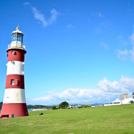Plymouth Light house by Sanil Photographys - Buildings & Architecture Statues & Monuments ( monuments, landmark, building, sanil photography, plymouth, light house, bluesky, linsaworld, beach, landscape, historic, myfocuz )