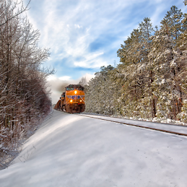 Snow Train - Eagleton Pass by William Rainey Fotography - Transportation Trains ( holidays, kansas city southern, photography, trains, arkansas )