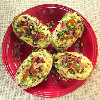 Vegan Twice Baked Potatoes with Black Beans and Coconut Bacon