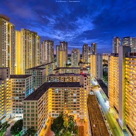 Claustrophobic Living by Ashley Teo - Buildings & Architecture Homes ( spaces, urban, blue hour, living, singapore )
