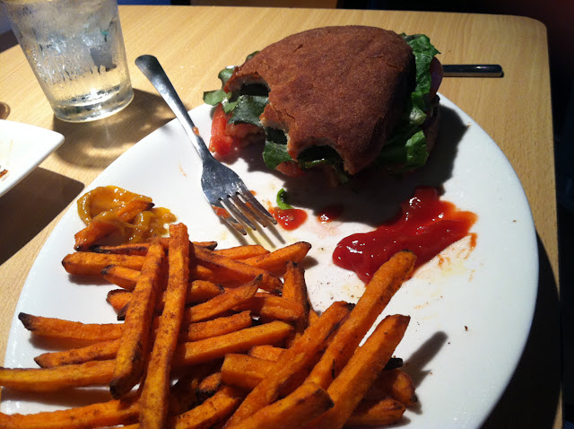Burger with gf bun sweet potato fries delish!