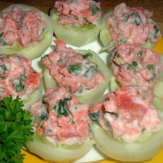 Smoked Salmon in Cucumber Cups