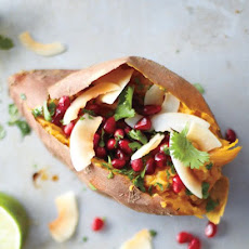 Sweet Potatoes with Coconut, Pomegranate, and Lime