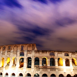 The Amazing Collosseum by Gilang Fikriano - Buildings & Architecture Statues & Monuments ( building, europe, night photography, night, monument, long exposure, colloseum, landscape, italy, city )