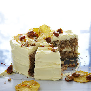 Hummingbird Cake With Cream Cheese Frosting, Dried Pineapple And Toffee Pecans