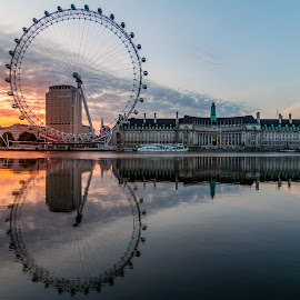 London Eye by Kate Mijakowska - Buildings & Architecture Public & Historical ( reflection, london eye, thames, london, sunrise, dusk, river )